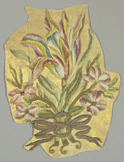 Small fragment with a bouquet of multicolored flowers and leaves tied with a ribbon. Satin weave ground is painted gold.