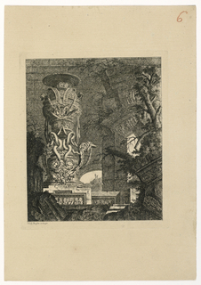 Print, Vase monumental reposant sur un enroulement de serpents, 1768, published 1770