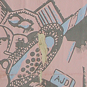 "Cubist or dada image containing a central view of vase with flowers, fan, bowl with lemons, pitcher and a book with initials AJD on back cover. Printed in blue and gray on pink ground. Part of a Wallpaper Scrapbook containing an assortment of papers, some of which were made at the ""Wiener Werkstatte""."