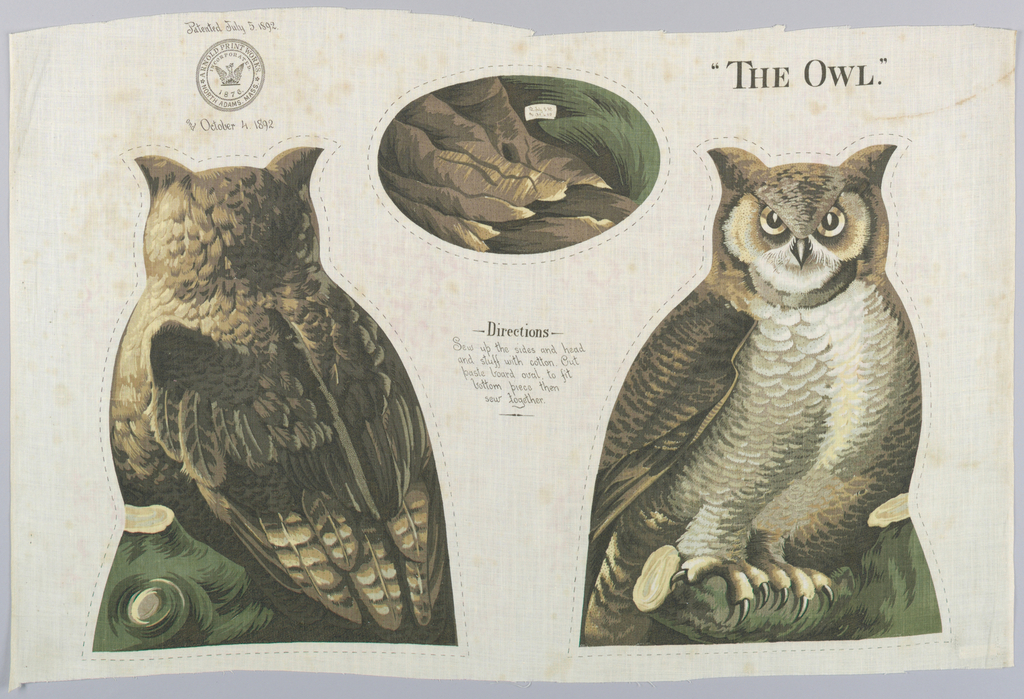 """Printed panel, entitled """"The Owl"""" with front, back and bottom views of a perched owl in shades of brown, green and yellow, meant to be cut and sewn into a stuffed toy. Sewing instructions are printed in the center. """"Arnold Print Works, North Adams, MA"""" is printed on the upper left corner"""