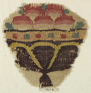 Purple basket or vase on goblet base containing five rounded fruit-like objects. Fragment from a garment or a textile decoration.