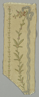 white silk with fine rib embroidered in colored silks (chain stitch); design, flowering vine tied with a bowknot of blue ribbon.