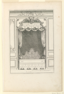 Print, Lit en niche, from Nouveau desseins de Lambris inventees par le Sr Pineau architecte, ca. 1727