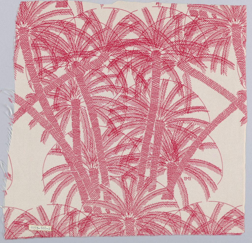 Linear drawing of palm trees. In red on white