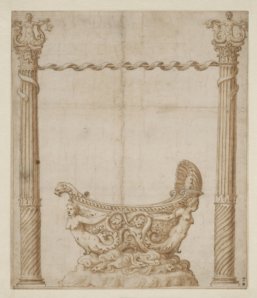 A ship-shaped bowl, supported by two mermaids, is surmounted upon a base representing the sea. The bowl is flanked by two high columns with mermaid finials connected to each other by a pole entwined with ribbon. Traces of framing lines are visible at the edges of the sketch.