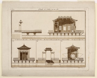 Print, Design for Chinese Pavilion in a Lake
