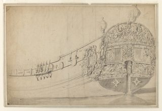 The stern of a ship featuring two rectangular central windows and decorated with an English coat of arms used by the Stuarts, the initial D, and sculptural figures including men on horseback, putti, and classical imagery including Poseidon.  Directly above the stern are two circular lamps.  The port of the ship to the left of the stern has minimal exterior decoration except for a window flanked by two putti holding a crown.