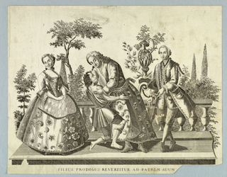 Flanked by a girl and a stylishly clothed boy, the ragged and kneeling boy is embracedby his father, who wears a night robe.