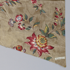 Fragment of glazed chintz showing multicolored flowers on a tan ground.