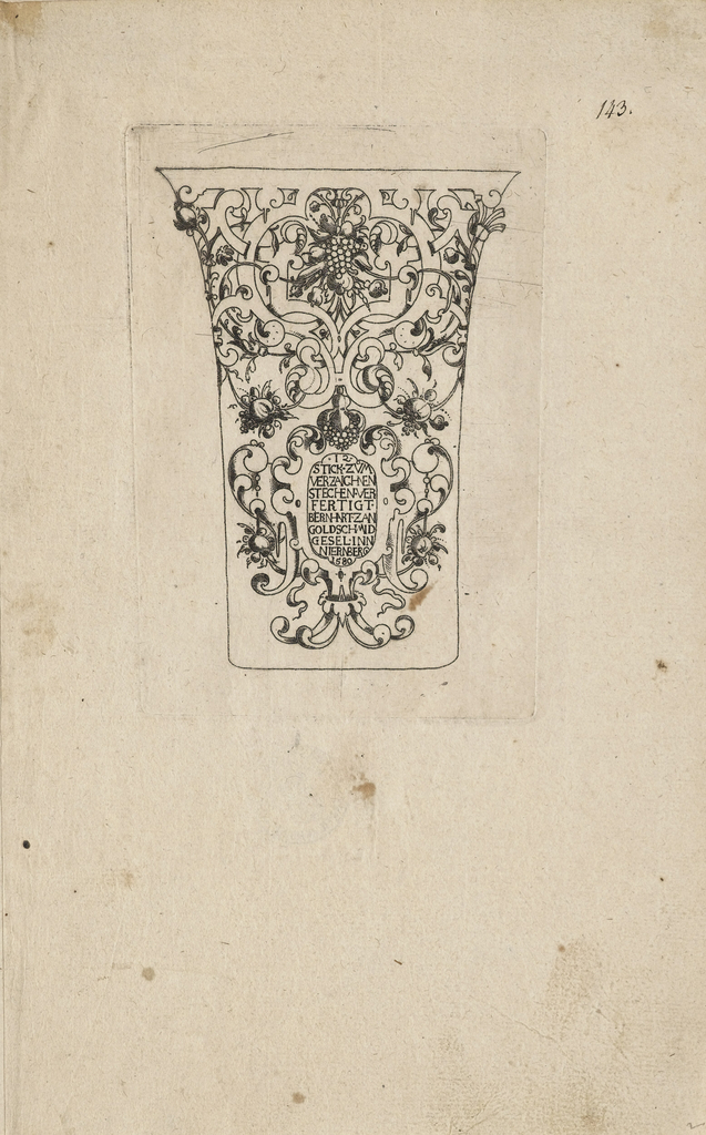On a simple vase-like form, elaborate strap-work contains fruit and flowers above an escutcheon containing the title of the set.