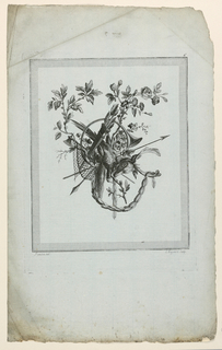 """A stag's head and dead pheasant with other implements of the hunt and flower garlands form a trophy. Below, engraver's and designer's names. From: """"Suite de Trophées de chasse,"""" suite VI, planche 6."""