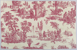 Textile printed with red on white showing country scenes.