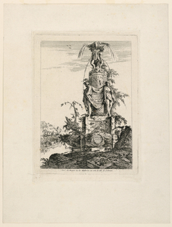 "Partially in ruins and in deserted country, the upper waters of the fountain spring. A cloth is held by two figures on the shaft, with the inscription: ""FONTAINE / INVETE / et graues Par Legeay / arch. Et""; ""J Legeay / sculp."" is written in a medallion at the bottom. Bottom margin: ""A Paris chés Huquier rue des Mathurins au coin de celle de Sorbonne."" (cf. Guilmard)."