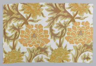 Incomplete design of large scale flowers and foliage in soft orange, light brown, reddish brown and yellow on white.