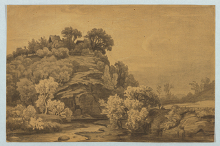Drawing, Landscape with Houses on a Wide Bluff