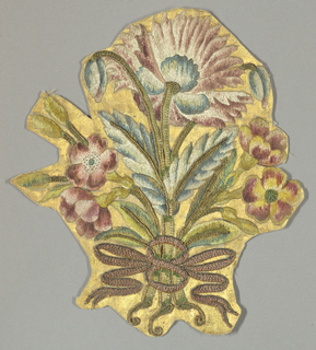 Small fragment with a bouquet of multicolored flowers, leaves and buds tied with a ribbon. Satin weave ground is painted gold.