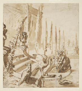 Part of a fountain is shown in the foreground. Steps lead down to a basin which is on the same level with the park, whereas the palace stands on a terrace. Birds on the steps, and a man feeding one of them, probably representing sculptures.