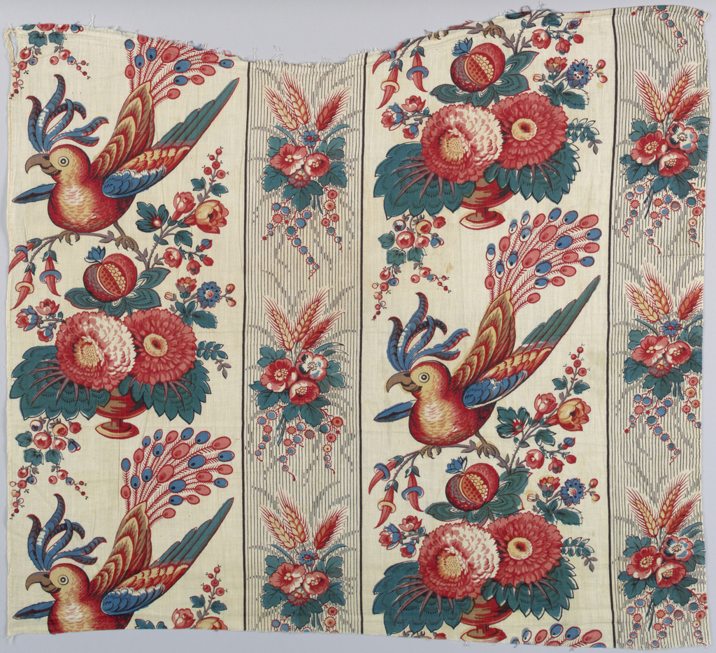 Laughting parrots and flowers arranged in stripes in a half-dropped repeat.