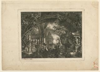 Print, Paysage d'architecture et de ruines vu sous un arc, 1768, published 1770