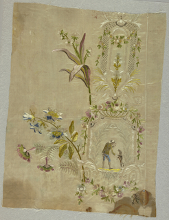 Fragment of silk embroidered with silk showing design of leaves, flower swags and lattice forming a vertical framework that encloses and man with dog. Large floral blooms, extend to the left, into unembroidered area.