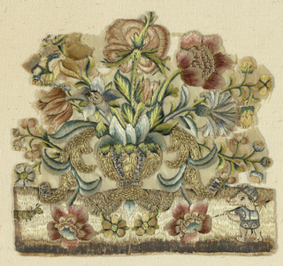 Fragment of a vase filled with flowers that spill into the foreground. To the left is a caterpillar and at right, a small animal, perhaps a dog, on hind legs with a helmet and tunic.