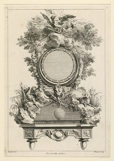 "Design for a circular clock on a bracket. Lower part conceived as rocks whereon two dogs appear. Two trees support the clock. Above, an eagle on a cloud. Inscribed, upper left: ""B""; lower right: ""2""; lower left: ""Oppenort inv.""; lower right: ""Huquier sculp."" center: ""Avec privilege du Roi""."