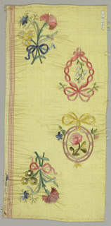Rectangular piece of yellow taffeta embroidered in colored silks has two bouquets of flowers tied with a ribbon and two floral sprigs, each within a frame that is tied with a ribbon. Selvedge on one edge has brown and white stripes.