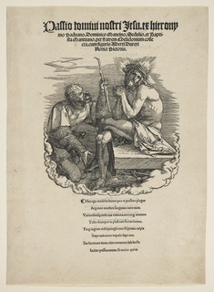 Christ is seated, at right, wearing a crown of thorns. A man kneels before Him. Four lines of printed text above (the title). Eight lines below and thirty on verso.