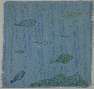 Square of blue cotton embroidered in blue-green and metallic thread in an allover abstract fish and seaweed pattern.