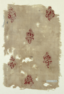 Rectangle of undyed linen cloth embroidered with widely-set diagonal repeat of floriated cross in red silk.