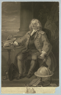 """He is seated and holds in his right hand a metal, which rests on a round table on which is """"The Royal Charter"""" of the Foundling Hospital. Before him lie his hat, a book, a globe showing the Western/or/Atlantic Ocean and a letter addressed to him. Behind him, between a drapery and a column, an indistinct statue (?) of a woman and child. In the left background a distant view of the sea with sailing vessels."""