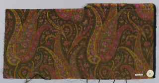 Heavyweight silk with horizontal ribbing has a tightly-spaced allover multicolored design with a paisley-cone motif surrounded with many small floral forms. Colors are primarily shades of pink with orange, yellow, and green-grey on an olive green ground. Right selvedge present.