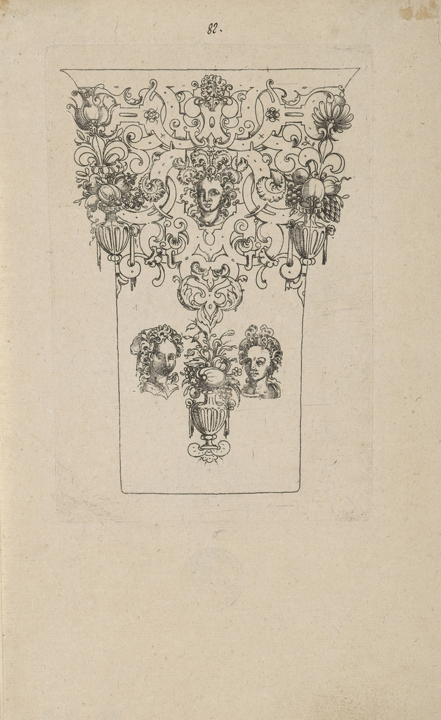 A scrollwork frieze with fruit vases and a head with feathered headgear at top; two girl's heads and a flower vase below.