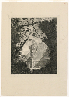 A monumental vase upon a pedestal is visible through vegetation and architectural ruins. The vase is decorated with a variety of ornamental motifs, such as swags and Greek key, and is supported by four figures. In the foreground immediately before the vase are two female figures.