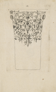 Scrollwork frieze surrounding a flower vase fills the top portion of the vessel.