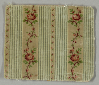 """Small-patterned or """"miniature"""" velvet fragment with a vertically striped ground. Ivory cut pile stripes have multicolored design of rose vine alternating with minute floral serpentines. Between the broader ivory stripes, groups of narrow stripes, in pale blue, alternately cut pile and silk weft floats."""
