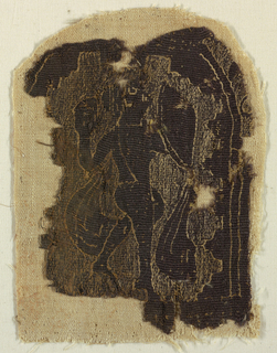 Monochrome type, dark brown wool and undyed linen. Figure of cloaked warrior stepping up to the right, carrying a shield and an unidentified object, probably framed in an arch, of which the borders are visible at the sides.