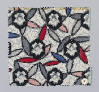 Black and white stylized flowers with grey, pink, blue and red leaves.