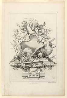 "On a console heaped together, writing material, a bust, rooster, putti, olive branches, etc. Inscribed upper left: ""6""; upper right: ""A""; lower left: ""Oppenort in.""; center: ""Avec privilege du Roy""; lower right: ""Huquier sculp. et ex""."