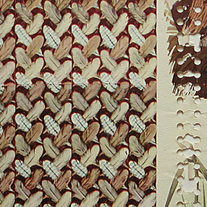 On left side, repeating motif of small-scale feathers; on right side two vignettes of ducks in their natural habitat. Printed in colors on white ground.