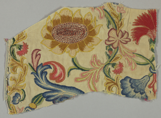 Wool plain weave, embroidered in large scale polychrome floral design. Chain, stem, satin, knot stitches.