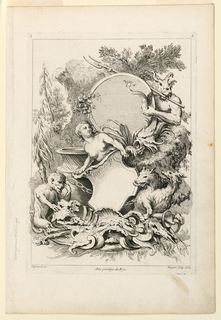 "In a landscape a nymph with a shield, a monkey, a satyr, and two wolves arranged in an artful arrangement with vases, cartouches, and implements. Inscribed, lower left: ""Oppenort inv."" lower right: ""Huquier sculp. et ex""; center: ""Avec privilege du Roy""; upper left: ""2""; upper right ""A""."