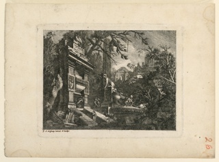 "Print, Architectural Fantasy with Tomb and Ruins, Plate from ""Rovine Inventione de Giovan. Loren, Legeay Architet.  Intagliate da lui stesso in Luce 1768"""