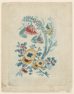 Fantastical floral bouquet with flora features resembling leaves, blossoms, buds, and berries.
