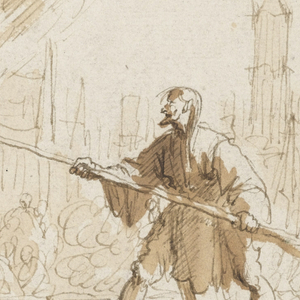 A figure, tied to a stake, left, is being tortured by another who holds toward him a bunch of burning grass held out by a pitchfork. A priest at left and numerous figures witness the scene, which takes place in a city square.