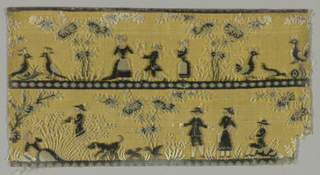 """Fragment of """"velours miniatures"""" has two rows showing groups of human figures, animals and landscape elements. Ground is pale yellow with details rendered in dark blue, black, gray, and white."""