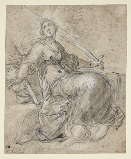 A seated female figure a cloud bank, facting right, her gaze directed to upper left; in her left hand she hold the Palm of Martyrdom, and behind her, a cushion and what might be taken for a fragment of the wheel, the instrument of her martyrdom. Possibly darkened for transfer, verso.