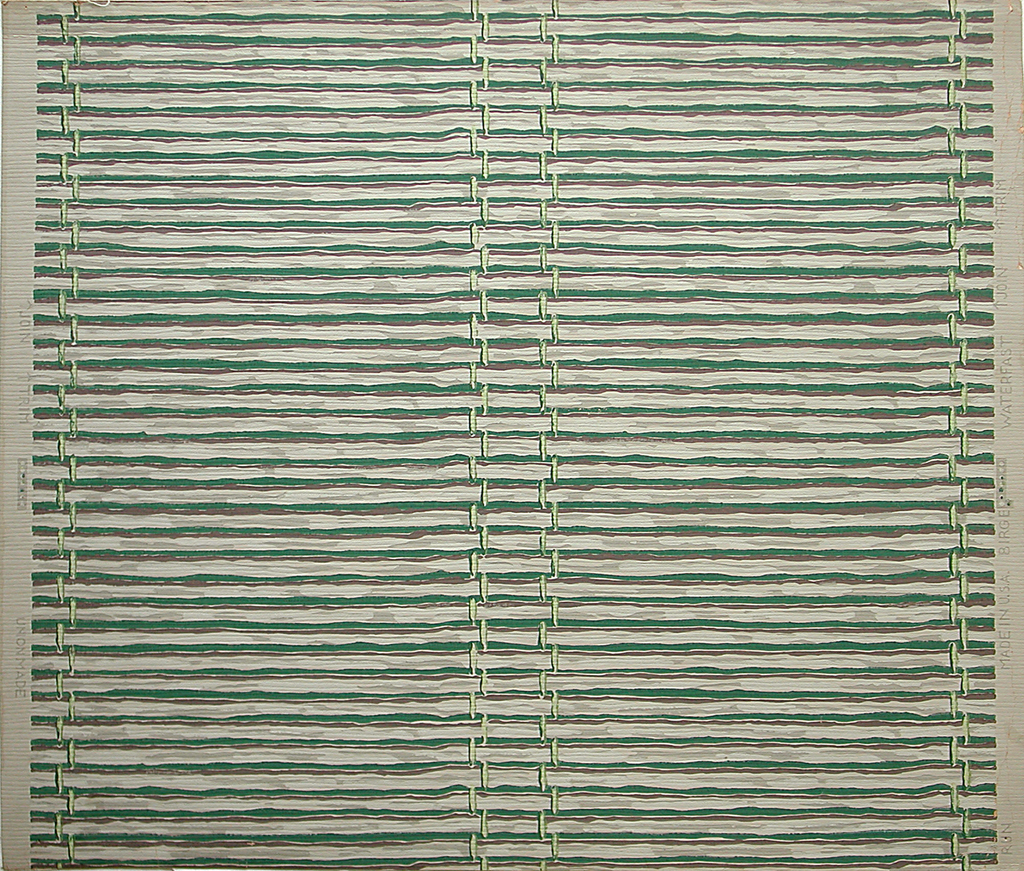 Stylized rendering of bamboo blind or wall hanging. a) Gray horizontal bamboo stalks with green lacing on green ground; b) Gray horizontal bamboo stalks with pale green lacing on red ground.