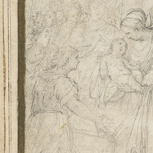 The Virgin stands before the adoring shepherds, and presents the Christ Child to them. Joseph sits in the right foreground. Angels and other figures in the background.