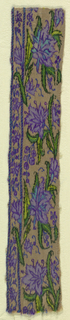 Shaggy-headed flower sprays with long pointed leaves filling horizontal band in serpentines. Floral guard border with decorated guard strips. In purples, bright turquoise and greens on a tan ground. One plain twilled selvedge; reinforced loom endings on long sides.